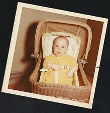 Vintage Photograph Adorable Little Baby Laying in Cute Doll Buggy Carriage