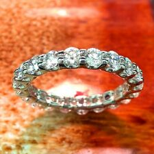 2.33 Ct Natural Round Diamond Eternity Ring in 18k White Gold New!