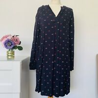 Hobbs size 10 navy blue & red sprig floral day office dress semi fitted