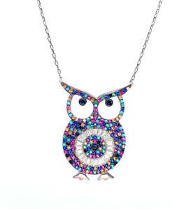 Multi Color Simulated Round & Baguette Diamond Owl White Gold Pendant Necklace