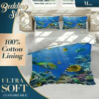 Coral Fish Animals Sea Life Blue Quilt Cover Cotton Doona with 2x Shams