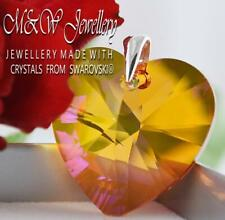 925 SILVER LARGE PENDANT CRYSTALS FROM SWAROVSKI® 28MM HEART - Astral Pink