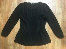 Cable & Gauge Women's Long Sleeve Black Sweater with Braid Design! Size L