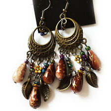 Amazing Antique Bronze Tone BROWN Beads Vintage Style Dangle Tassel Earrings UK