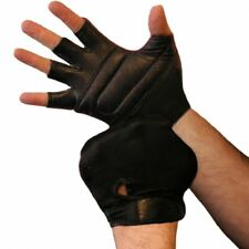 Weightlifting Gloves Padded Real Leather Back Lycra