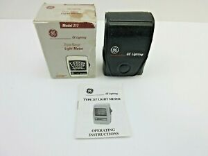 GE Model 217 Triple Range Light Meter with Box and Instructions - Made in USA