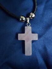 Gemstone Rose Quartz 25x18mm Crucifix Cross Necklace Pendant Fashion Jewellery