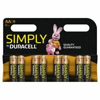 DURACELL SIMPLY AA BATTERIES PACK OF 8 S6771 TOP QUALITY ITEM