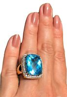 18K Yellow Gold Blue Topaz Diamond Halo Massive 17.6g Heavy Cocktail Ring 7.25