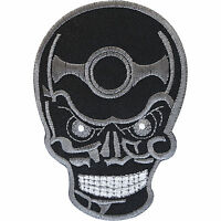 Embroidered Black Skull Patch Badge Iron Sew On Clothes Jacket Jeans Bag T Shirt