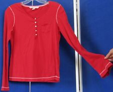 EUC Red VICTORIA S SECRET Henley TOP Sz M 100% Cotton LONG Sleeve