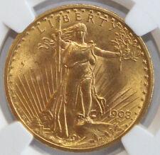 1908 $20 NO MOTTO ST. GAUDENS NGC MS 64 FREE SHIPPING USA 3832257-004