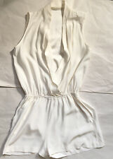 ZOE JORDAN Women Cool Short Silk Playsuit, White  Size Small