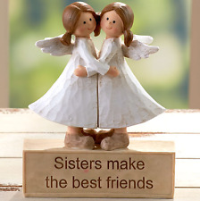 Gift Idea For Sister Cute Angels Statue Figurine Best Friends Message Ceramic
