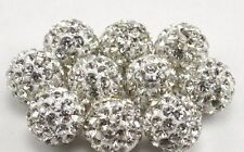 150pcs/lot 10mm white micro pave disco crystal shamballa beads bracelet spacer