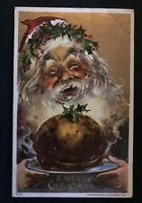 Santa Claus with Plum Pudding~Crown of Holly~ Antique Christmas Postcard~h450