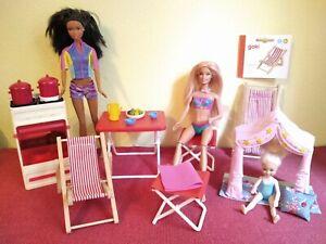 Barbie Konvolut Camping 2 Barbies Shelly Tisch Campinghocker 2 Liegestühle Zelt