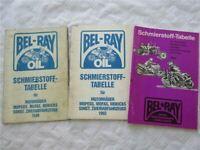 3x Bel-Ray Schmierstoff-Tabelle Motorräder Mopeds Mofas Mokicks 1986 1993 1996