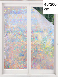 45x200CM 3D Privacy Bathroom Window Film Non-Adhesive Frosted Pattern Glass UK
