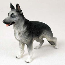 German Shepherd Hand Painted Dog Figurine Statue Silver