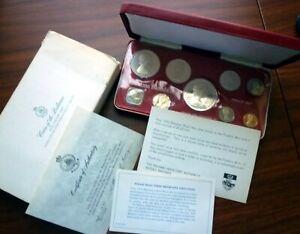 1970 BAHAMAS - OFFICIAL PROOF SET (9) w/ 4 SILVER - ORIG. PKG w/ COA - 3 Oz ASW