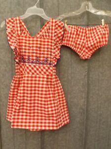 Dutch Windmills Vtg 1960s NEW Red White Check Pinafore Dress & Panties Set Sz 10