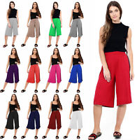Womens Ladies Elasticated Stretch Print Wide Leg Culottes Shorts Plus Size 8-26