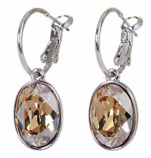 Pierced Earrings Rhodium Authentic 7176a Swarovski Elements Crystal Oval Puzzle