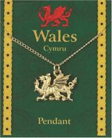 Welsh Dragon Pewter Pendant Wales Souvenir Gift Necklace Gilt Chain Gold Plated