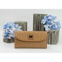 Dooney & Bourke Camel Camden Woven Leather Trifold Wallet NWT