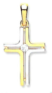9CT HALLMARKED YELLOW & WHITE GOLD POLISHED CROSS (CHAIN OPTIONAL)