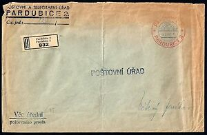 HUNGARY 1940 REGISTERED PARDUBICE 2 TELEGRAM COVER WITH RED & BLUE CANCEL TONED