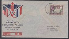 Netherlands Antilles Sc C23 used on 1943 Royal Dutch Air Lines Cover to US