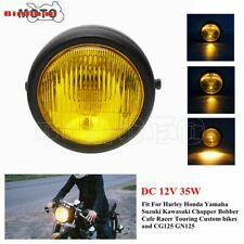 Motorcycle Yellow Lens 12V Headlight Metal Halogen Light For Harley Cafe Racer