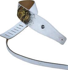 Sangle Sérigraphiée Crâne Cuir Blanc pour guitare folk, électrique, classique