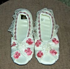 Isotoner Fancy White Slippers with Ribbons & Pearls NEW Vintage