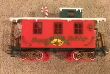 New Bright Train Car Caboose  Happy Holidays 1986 Candy Cane Snow Christmas EUC
