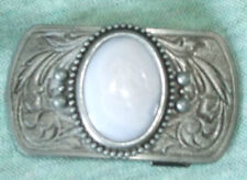 White/gray agate  belt buckle