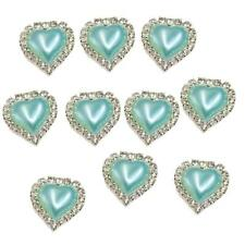 10pcs Flatback Pearl Heart Embellishment Buttons for Scrapbooking Water Blue