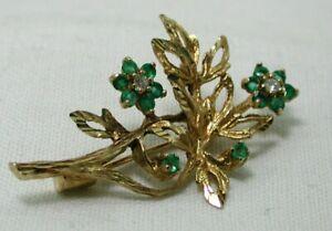 Beautiful 9 carat Gold Emerald And Diamond Flower Spray Brooch