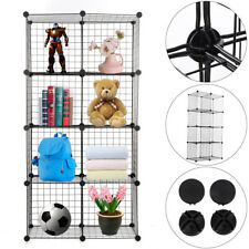Wire Grid 8 Cube Unit DIY Shelving Rack Bookcase Toys Storage Display Cabinet UK