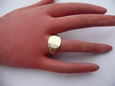 SUPER MENS VINTAGE HEAVY SOLID 9CT GOLD SIGNET RING SIZE U 19.94MM DIA 4.6 GRAMS
