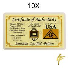 10X 1 gr. Goldbarren 999,9 Gold je 0,0648 Gramm Geschenk Münze Nugget Blister