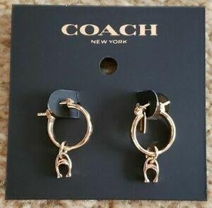COACH SIGNATURE HUGGIE EARRINGS:NWT GOLD  F67083