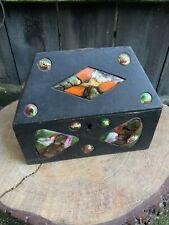 VINTAGE Spanish CAPO ESMALTES TRINKET BOX jewellery casket enamel copper plaque