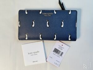 NWT Kate Spade WLRU5683 Large Slim Biford Wallet Cameron Penguin Navy Multi