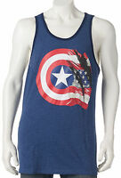 Marvel Captain America Size S M L XL 2XL Blue 75th Flag & Shield Print Tank Top