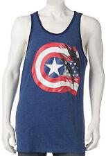 f0af3b00379aa Marvel Captain America Size S M L XL 2XL Blue 75th Flag   Shield Print Tank  Top