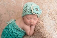 Newborn-3 mos blue Baby Infant Mermaid Cocoon hat Baby Photo Prop Outfit swaddle