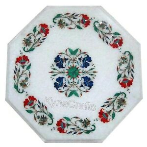 15 Inches Marble Coffee Table Top Mosaic Art Corner Table from Heritage Crafts